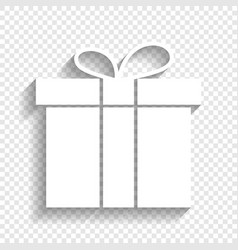 Gift box sign white icon with soft shadow vector