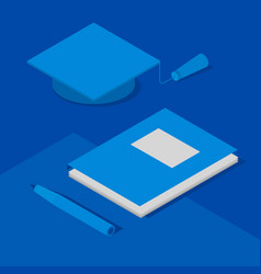 Graduation cap papers and pen isometric 3d vector