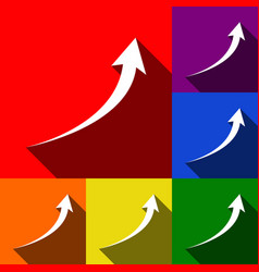 Growing arrow sign set of icons with flat vector