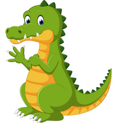 happy fun cute crocodile cartoon vector image vector image