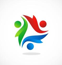happy kids diversity logo vector image vector image