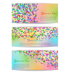 Horizontal banners with confetti vector
