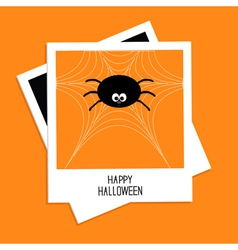 Instant photo with spider on the web hallowen vector