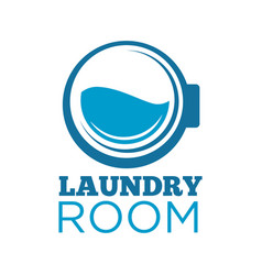 Laundry room logotype with washing machine drum vector