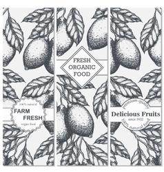 Lemon vertical banner collection lemons hand vector