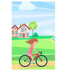 little girl riding bike outdoors in summer time vector image vector image