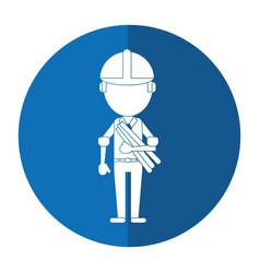 Man building construction plans helmet shadow vector