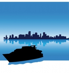miami skyline silhouette vector image vector image