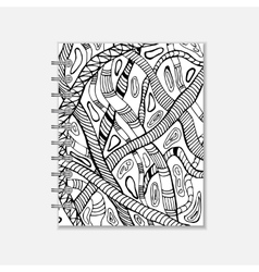 Notebook cover design with handmade snake pattern vector