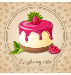 Raspberry cake emblem vector image vector image