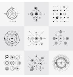 Scientific bauhaus technology circular grids vector image vector image