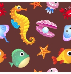 Sea creatures background vector