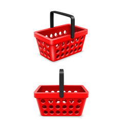 Shopping cart set object 3d on white background vector