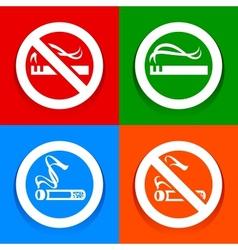 Stickers multicolored No smoking area labels vector image vector image