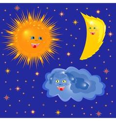 Sun moon and cloud on the starry sky vector