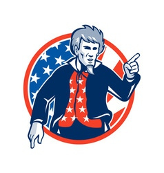 Uncle Sam American Pointing Finger Flag Retro vector image vector image