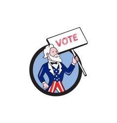 Uncle sam holding placard vote circle cartoon vector