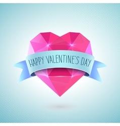 Valentines day greeting card diamond heart shape vector