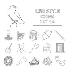 Vikings set icons in outline style big collection vector