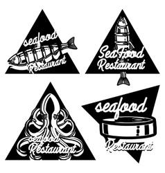 Vintage seafood restaurant emblems vector