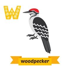 Woodpecker w letter cute children animal alphabet vector