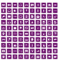 100 audio icons set grunge purple vector
