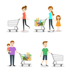 people go shopping at the market vector image