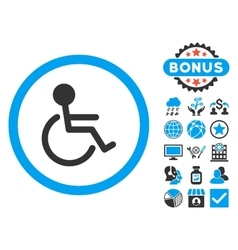 Handicapped flat icon with bonus vector