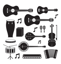 Music instruments acoustic silhouette objects set vector