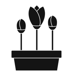 Tulips in box icon simple style vector