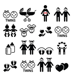 Twin babies icons set - double pram twins vector image
