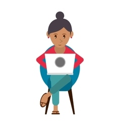 beutiful girl using laptop sitting vector image