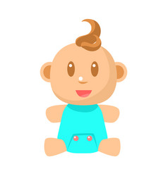 Small happy baby boy sitting in blue onesie vector
