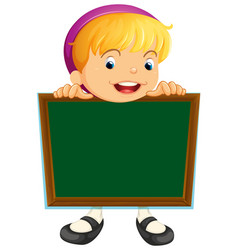 board template with cute girl vector image
