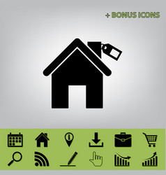Home silhouette with tag  black icon at vector