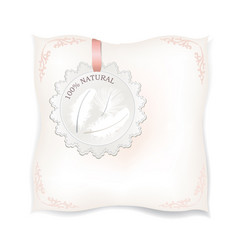 White pillow isolated natural feather sign vector