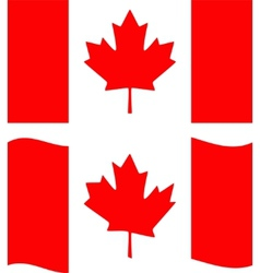 Flat and waving canada flag vector