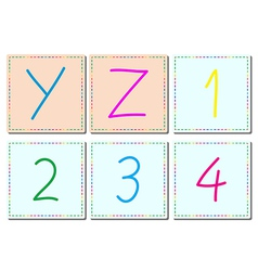 Alphabets and numbers set 5 vector