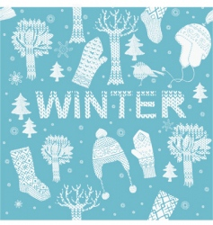 Knitted winter clothes vector