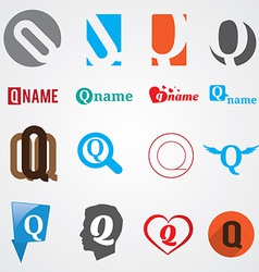 Set of alphabet symbols of letter q vector