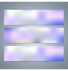 Set of horizontal colorful banners with water vector