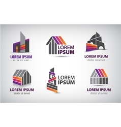 Set of colorful buildings houses logos vector