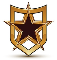 Renowned golden star emblem placed in a shield 3d vector