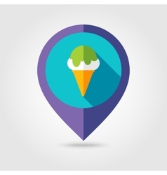Ice cream flat mapping pin icon with long shadow vector