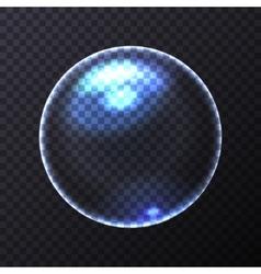 Big Blue Transparent Soap Bubble vector image