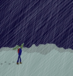 Lonely boy in the winter blizzard vector