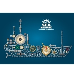 Sea ship silhouette with nautical equipment vector