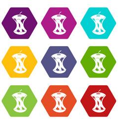 apple core icon set color hexahedron vector image vector image