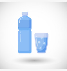 Bottle and glass of water flat icon vector
