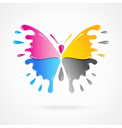 Butterfly colored cmyk print splash vector